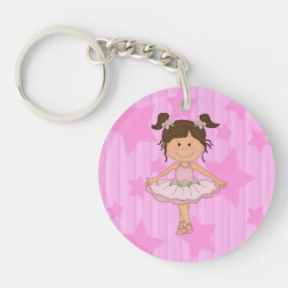 Cute Pink Ballet Girl On Stars and Stripes Double-Sided Round Acrylic Keychain