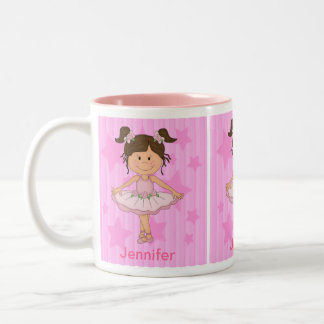 Cute Pink Ballet Girl On Stars and Stripes Coffee Mugs