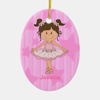Cute Pink Ballet Girl On Stars and Stripes Double-Sided Oval Ceramic Christmas Ornament
