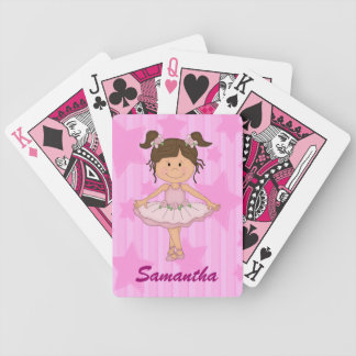 Cute Pink Ballet Girl On Stars and Stripes Bicycle Poker Deck
