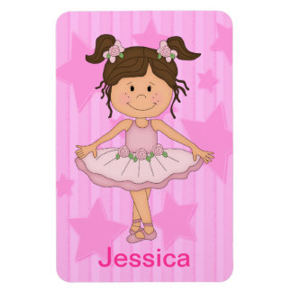 Cute Pink Ballet Girl On Stars and Stripes Rectangular Photo Magnet