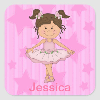 Cute Pink Ballet Girl On Stars and Stripes Square Sticker