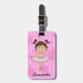 Cute Pink Ballet Girl On Stars and Stripes Tag For Bags