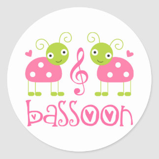 Cute Pink Bassoon Ladybug Music Gift Round Sticker