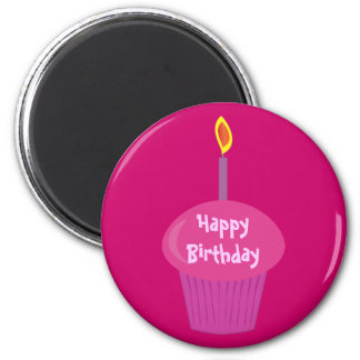 Cute Pink Birthday Cupcake & Candle Custom 2 Inch Round Magnet