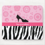 Cute Pink Black Shoes Trendy Zebra Print With Name Mouse Pad