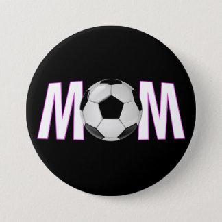 Cute Pink & Black Soccer Mom Button Pin