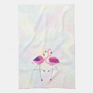 Cute Pink & Blue Flamingos Hand Towel