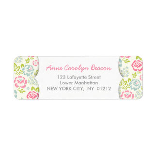 Cute Pink & Blue Girly Floral Return Address Label