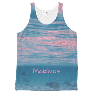 Cute Pink Blue Maldives Ocean Waves Souvenir All-Over-Print Tank Top
