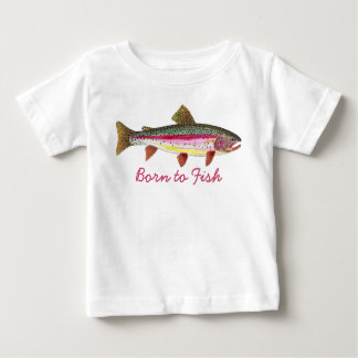 "Cute Pink ""Born to Fish"" Trout Fly Fishing Baby T-Shirt"