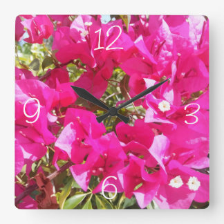 Cute Pink Bougainvillea Print Wall Clocks