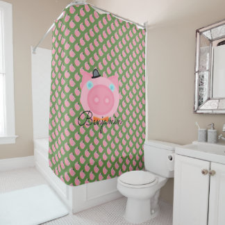 Cute Pink Boy farm pig shower curtain