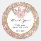 Cute Pink, Brown, Glitter Gold Baby Shower - Girls Classic Round Sticker