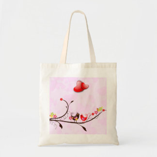 Cute Pink Brown & Red Valentines Love Birds Budget Tote Bag
