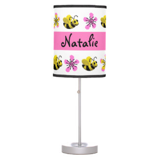 Cute Pink Bumble Bee Baby Girl Shower Table Lamp