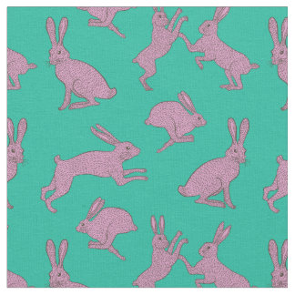 Cute Pink Bunnies on Green Background Fabric