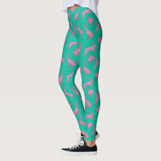 Cute Pink Bunnies on Green Leggings