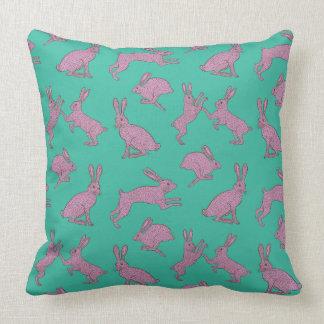 Cute Pink Bunnies on Green Pillow
