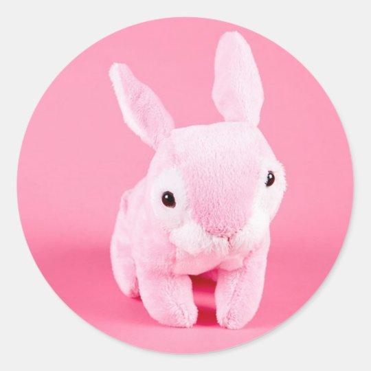Cute Pink Bunny Classic Round Sticker