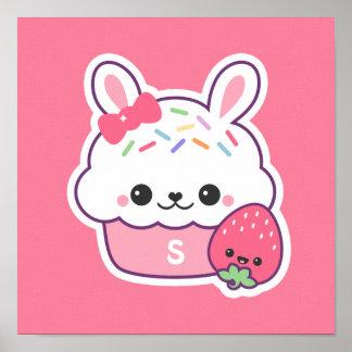 Cute Pink Bunny Cupcake Monogram Poster