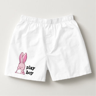 Cute pink bunny drawing with the words play boy boxers