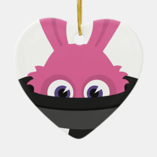 Cute pink bunny for Happy Easter Ceramic Ornament