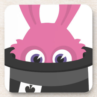 Cute pink bunny for Happy Easter Coaster