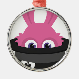 Cute pink bunny for Happy Easter Metal Ornament