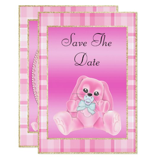 Cute Pink Bunny Save The Date Baby Shower Card