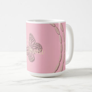 Cute Pink Butterfly Add Name Mug