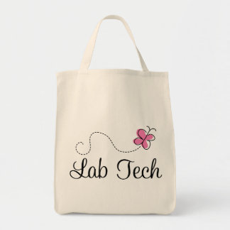 Cute Pink Butterfly Lab Tech Bags