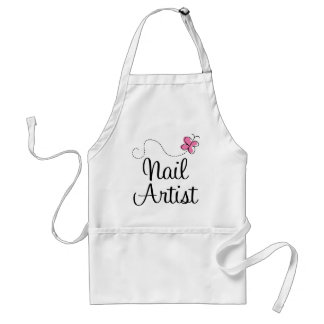 Cute Pink Butterfly Nail Artist Aprons