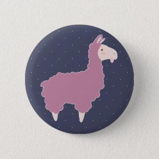 Cute Pink Cartoon Llama & White Dots 2 Inch Round Button