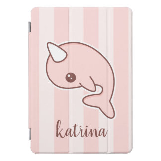 Cute Pink Cartoon Narwhal With stripes