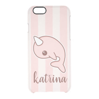 Cute Pink Cartoon Narwhal With stripes Clear iPhone 6/6S Case