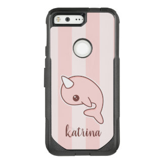 Cute Pink Cartoon Narwhal With stripes OtterBox Commuter Google Pixel Case