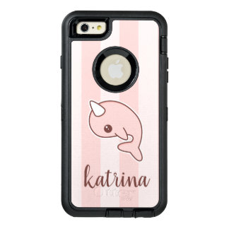 Cute Pink Cartoon Narwhal With stripes OtterBox Defender iPhone Case