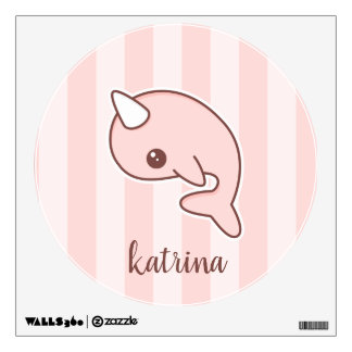 Cute Pink Cartoon Narwhal With stripes Wall Decal