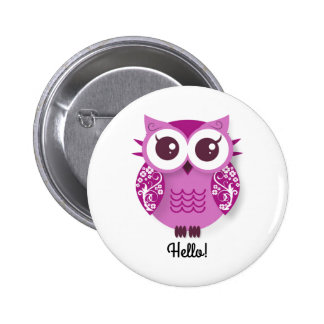 Cute pink cartoon owl personalized text box 2 inch round button