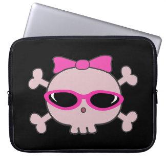 Cute Pink Cartoon Skull with Sunglasses Laptop Sleeve