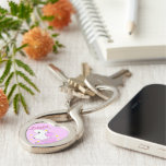 Cute pink cartoon unicorn with stars Silver-Colored Heart-Shaped metal keychain