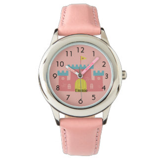 Cute Pink Castle / Fort Personalized Child's Watch