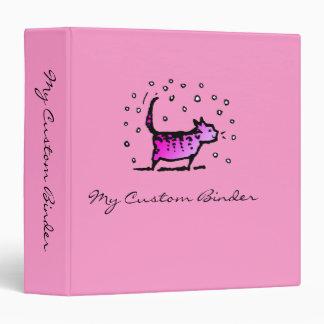 Cute Pink Cat Art Custom Vinyl Binder