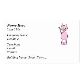 Cute Pink Cat Cartoon. Business Card Template