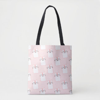 Cute pink cat pattern tote bag