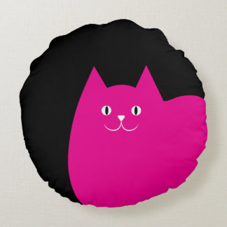 Cute Pink Cat Round Pillow