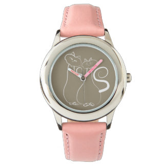 Cute Pink Cats Love Couple Romantic Girly Together Wristwatches