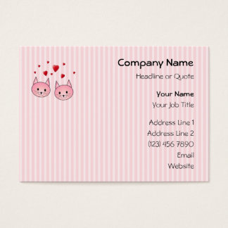 Cute Pink Cats, with Red Love Hearts. Business Card