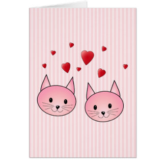 Cute Pink Cats, with Red Love Hearts. Greeting Card
